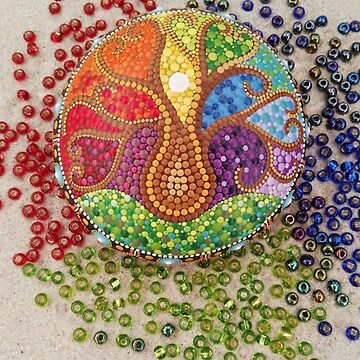 Tree of Life painted stone by mandalaole