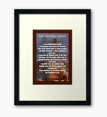 Navy Sailor Creed Poster Framed Print