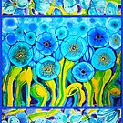 Field of Blue Poppies with Top and Bottom Border Belize by caribbeancolors