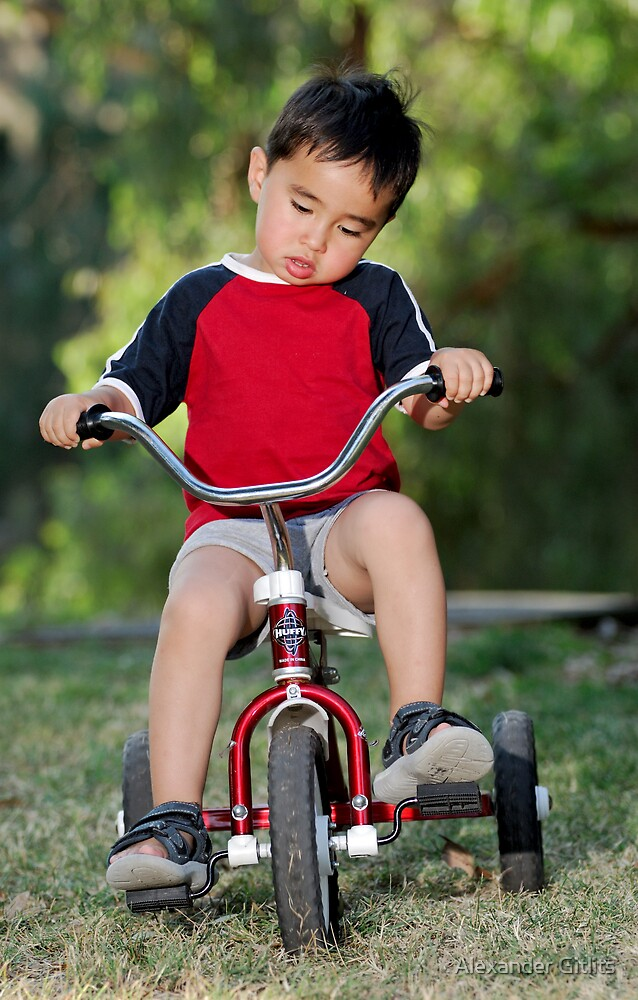 Boy and Bicycle by Alexander Gitlits