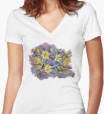 Triple Purple Flower Women's Fitted V-Neck T-Shirt