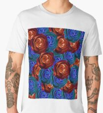 rose texture pattern abstract background in red and blue Men's Premium T-Shirt