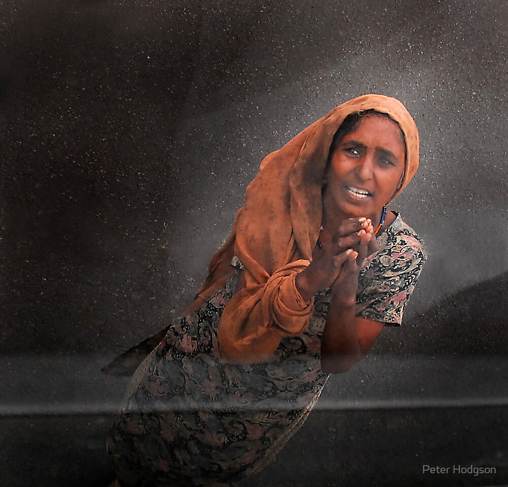Begging woman by Peter Hodgson