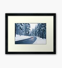Winter Landscape. Mountain Road Covered by Snow. Framed Print