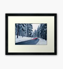 Mountain Road Covered by Snow Framed Print