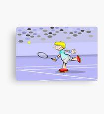 Tennis boy waiting for the ball Canvas Print