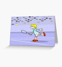 Tennis boy waiting for the ball Greeting Card