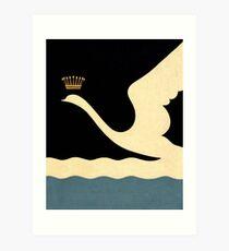 Minimalist Swan Queen flying crowned swan Art Print
