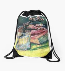 Van Gogh - Blossoming Almond Branch in a Glass with a Book Drawstring Bag
