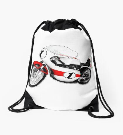 Motorcycle T-shirts Art: White & Red Drawstring Bag