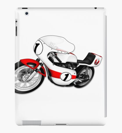 Motorcycle T-shirts Art: White & Red iPad Case/Skin