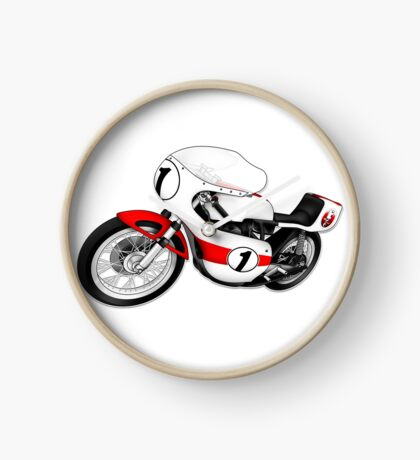 Motorcycle T-shirts Art: White & Red Clock