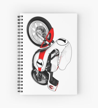 Motorcycle T-shirts Art: White & Red Spiral Notebook