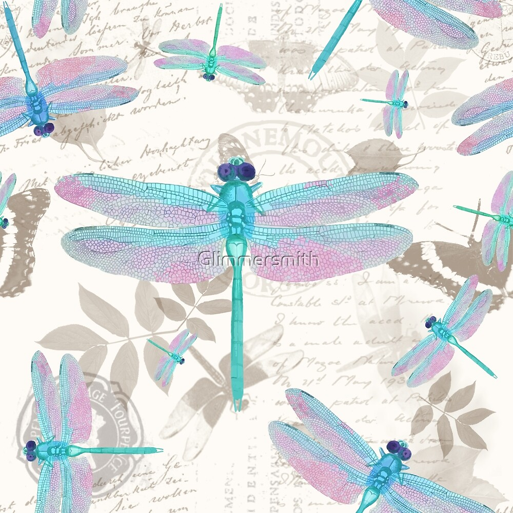Vintage Botanicals collection turquoise and lavender dragonflies by Glimmersmith