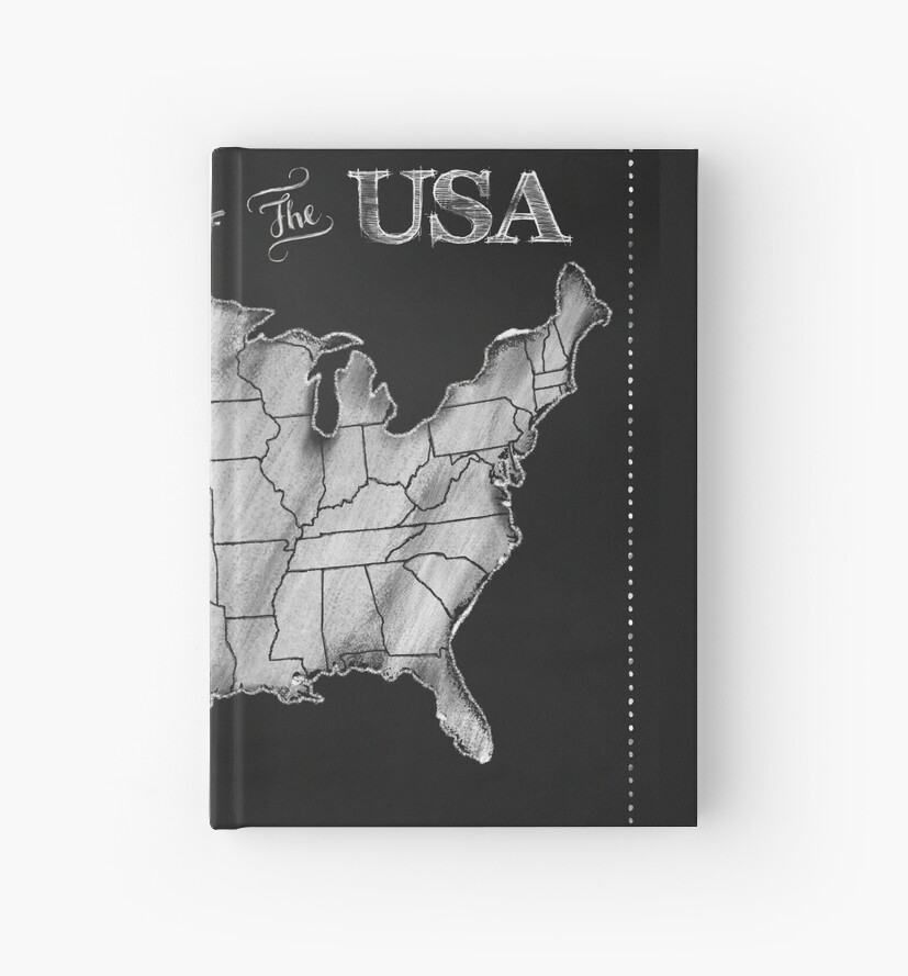Map Of The Usa Chalkboard Art Us Map Hardcover Journals By