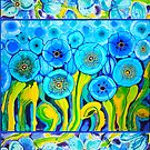 Field of Blue Poppies with Border Belize by caribbeancolors