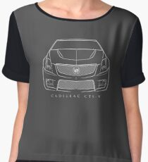 Cadillac CTS-V - Front Stencil, white Women's Chiffon Top