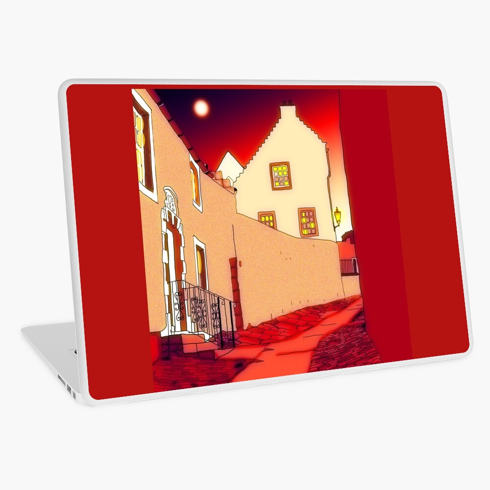 Dysart: Scottish Town digital drawing Laptop Skin