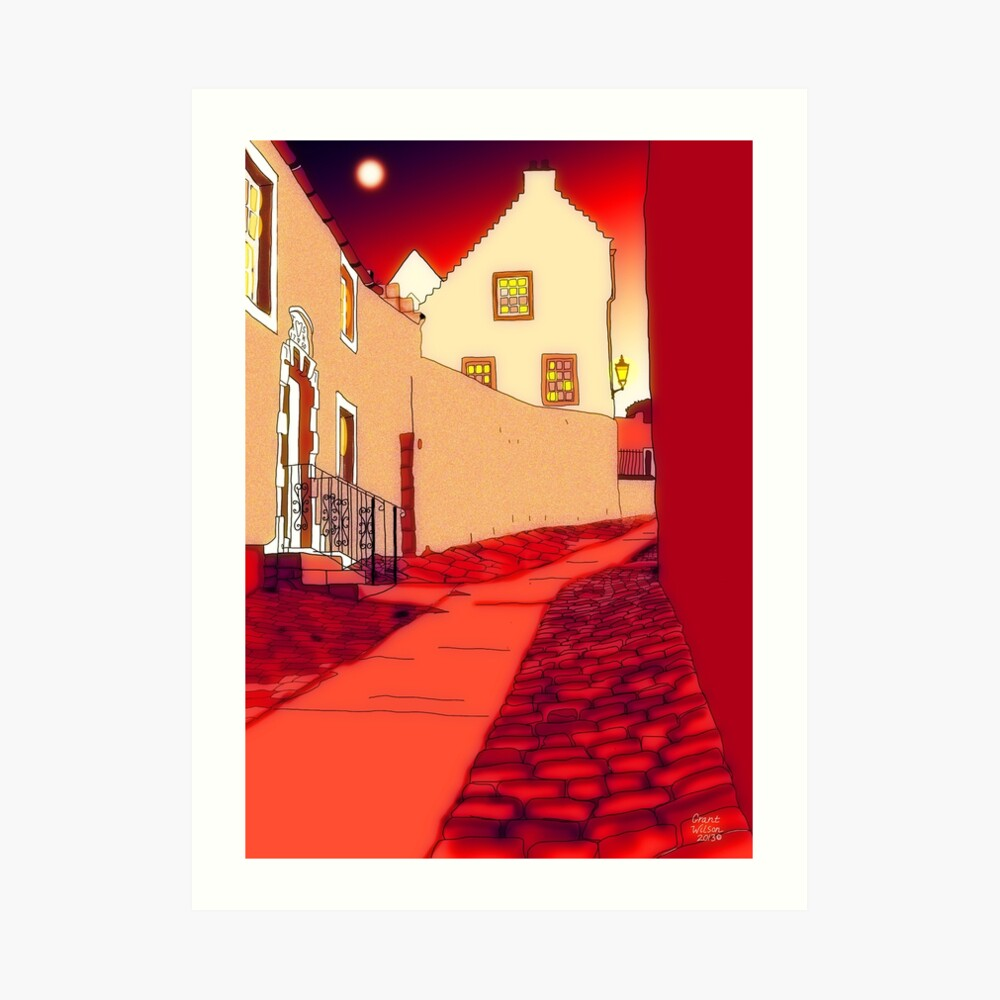Dysart: Scottish Town digital drawing Art Print