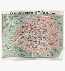 Map of Paris, France Poster