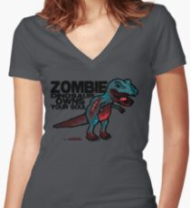 Zombie Dinosaur Women's Fitted V-Neck T-Shirt