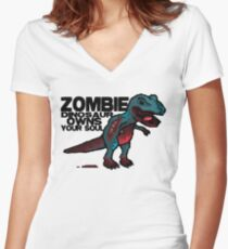 Zombie Dinosaur Women's Fitted V-Neck T-Shirt