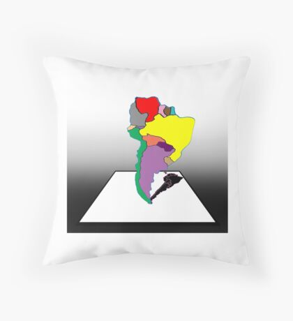 Anamorphic South America Throw Pillow