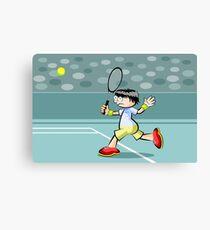 Child running to reach the tennis ball Canvas Print