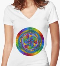 Epiphany Psychedelic Dragons Rainbow Mandala Women's Fitted V-Neck T-Shirt