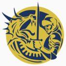 Knight Fighting Dragon Circle Retro by patrimonio