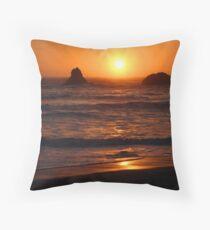 Sunset at Lone Ranch Beach, Oregon Throw Pillow