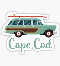 Cape Cod Massachusetts Retro Surf Wagon Sticker