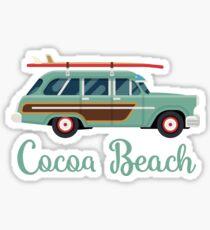 Cocoa Beach Florida Retro Surf Wagon Souvenir Sticker