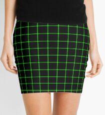Large Matrix Optical Illusion Grid in Black and Neon Green  Mini Skirt
