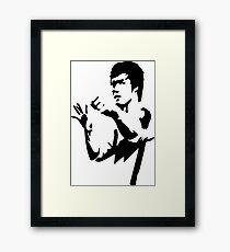 bruce lee Black and white  Framed Print