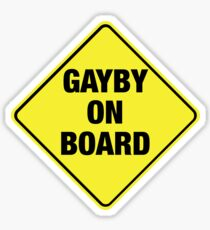 GAYBY ON BOARD stickers, drawstring bags, notebooks Sticker