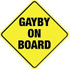 GAYBY ON BOARD stickers, drawstring bags, notebooks by Ethel Yarwood