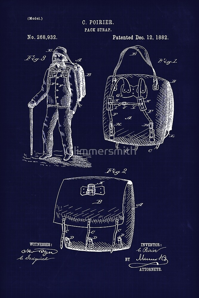 The First Backpack, antique blueprint drawing from 1882 by Glimmersmith