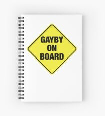 GAYBY ON BOARD stickers, drawstring bags, notebooks Spiral Notebook
