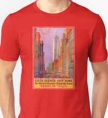 Vintage Travel Poster, Aged and Weathered - 5th Avenue New York  T-Shirt