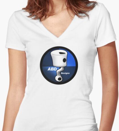 ABD vintage race bike logo - Blue Women's Fitted V-Neck T-Shirt