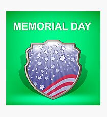 Shield of America. Memorial Day Celebration Poster. Memorial Day American Flag. Memorial Day Shield Background. Photographic Print