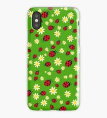 Hand drawn ladybug and flower pattern iPhone Case/Skin