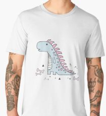 Ornament with dinosaurs, Jurassic Park. Adorable seamless pattern with funny dinosaurs in cartoon Men's Premium T-Shirt