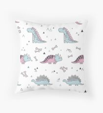 Ornament with dinosaurs, Jurassic Park. Adorable seamless pattern with funny dinosaurs in cartoon Throw Pillow