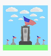 Flag of America Flying over Gravestone. Memorial Day Celebration Poster. Memorial Day American Flag. Memorial Day at the Cemetery. Photographic Print