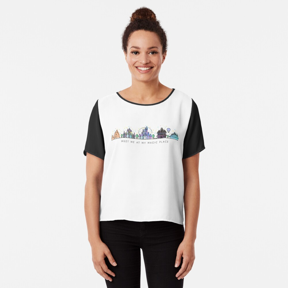 Meet me at my Magic Place. Happiest Place on Earth. Theme Park Skyline. Florida, Paris, California. Chiffon Top
