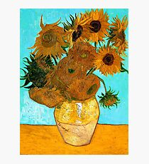 Van Gogh - Still Life Vase with 12 Sunflowers Photographic Print