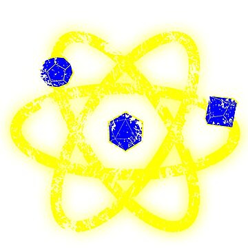 Atomic Dungeons and Dragons D20 - Blue and Yellow by Fuzzyketchup