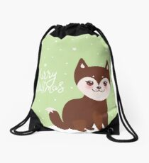 Merry Christmas New Year's card design funny brown husky dog, Kawaii face with large eyes and pink cheeks, light green background Drawstring Bag
